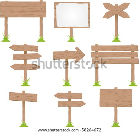 Vector Set Of Wooden Signs #58264672