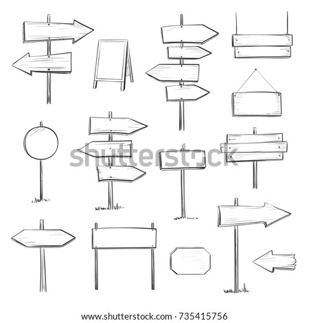 Vector set of wooden signs. Isolated hand drawings on a white background.  #735415756
