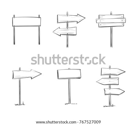 Vector set of wooden signs. Isolated hand drawings on a white background.