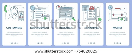 Vector set of workflow concept vertical banners. Customers, Management, Research, Planning and Money web elements. Modern thin line flat symbols, icons for website menu, print.