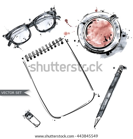 Vector set of working tools: notebook, pen, glasses, cup of coffee. Office desk . Business. Top view . Workplace. Isolate on white background.