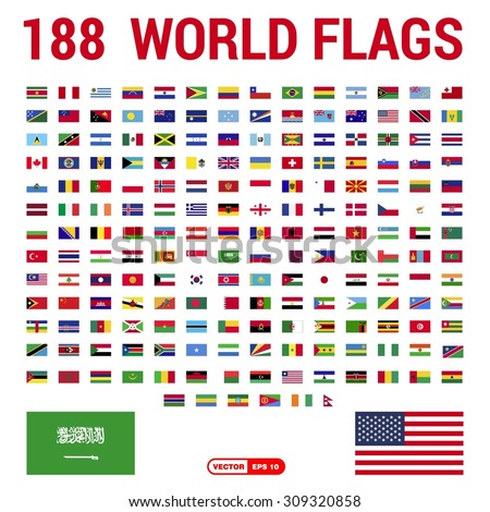 vector set of 188 world flags