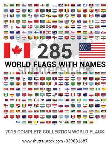 Vector set of 285 world Flags of sovereign states with names. 2015 Complete Collection world Flags.