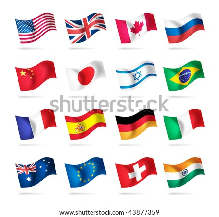 Vector set of world flags: USA, United kingdom, Canada, Russia, Japan, Brazil, Israel, France, Spain, Germany, Italy, Australia, Euro, Switzerland, India