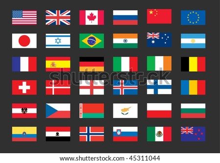 Vector set of world flags: USA, United kingdom, Canada, Russia, Japan, Brazil, Israel, France, Spain, Germany, Italy, Euro, India. File EPS 10 with transparency and overlay