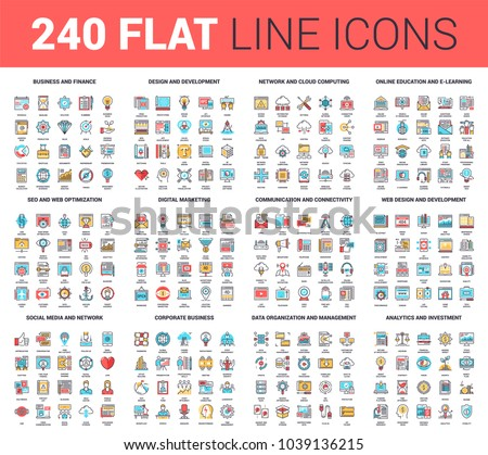 Vector set of 240 64X64 pixel perfect flat line web icons. Fully editable and easy to use.