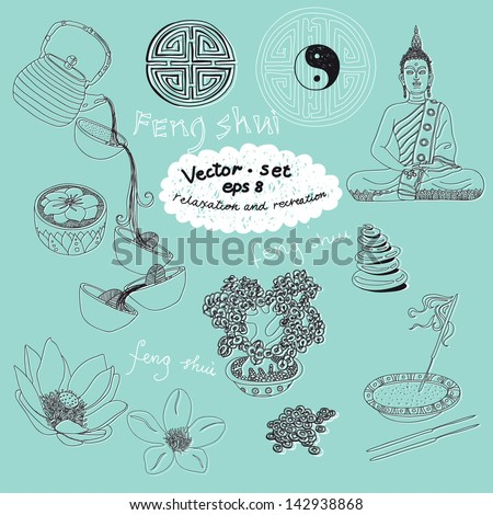 Vector set of yoga and feng-shui icons. Relaxation and recreation.
