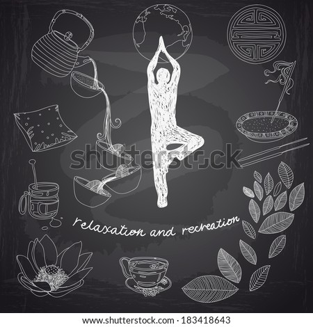 Vector set of yoga and feng-shui icons. Relaxation and recreation. Chalkboard design.