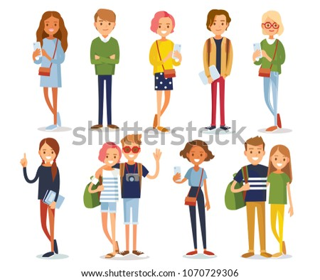 Vector set of young people