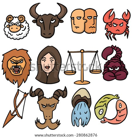 vector set of zodiac icon