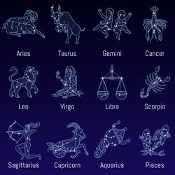 Vector set of zodiac signs. Illustration of the horoscope for the whole year. aries, taurus, gemini, cancer, leo, virgo, libra, scorpio, sagittarius, capricorn, aquarius, pisces