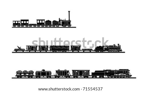 vector set old train on white background