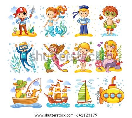 vector set on a sea theme a
