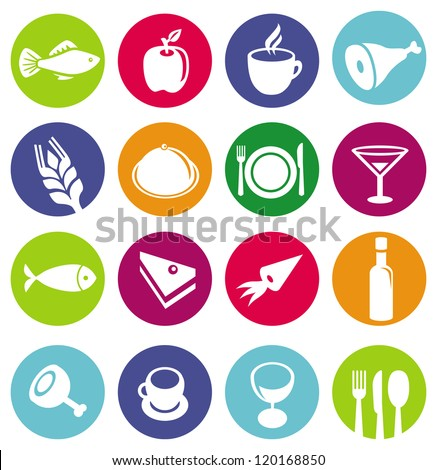 Vector set or restaurant icons and food - signs on circles