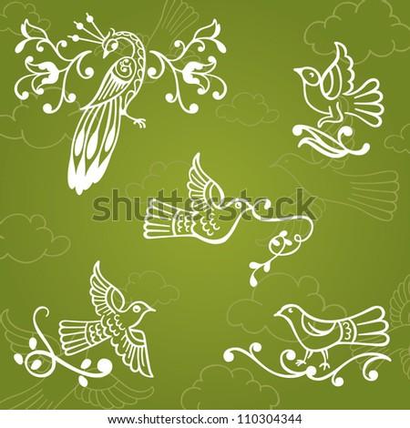 Vector set: ornamental floral vintage birds decoration on sky background. Birds and clouds wallpaper. - stock vector