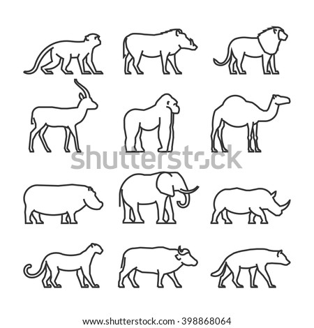 vector set outline african