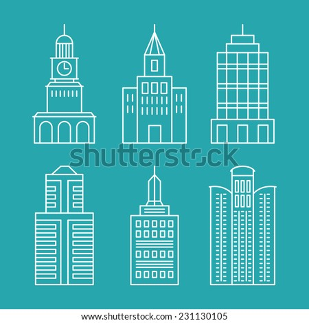 Vector set outline buildings and houses line design elements