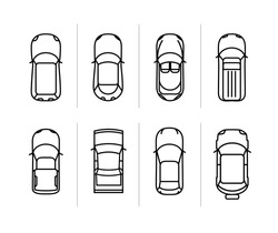Vector set outline cars top view. Vector car icons. Thin line vector race cars symbols