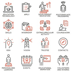 Vector set outline icons related to educational process, career progress, training,  tutorship and professional consulting service. Mono line pictograms and infographics design elements - 2