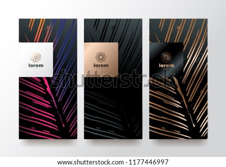 Vector set packaging templates Leaves of nature luxury or premium products.logo design with trendy linear style.voucher, flyer, brochure.menu book cover vector illustration.greeting card background.