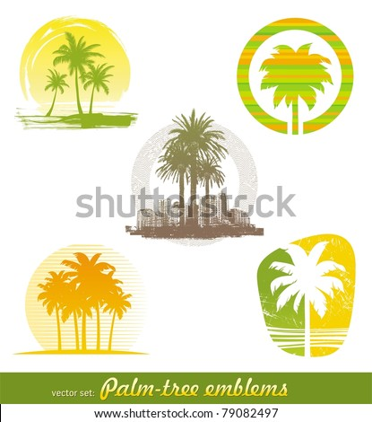 Vector set palm tree emblems & labels in different styles
