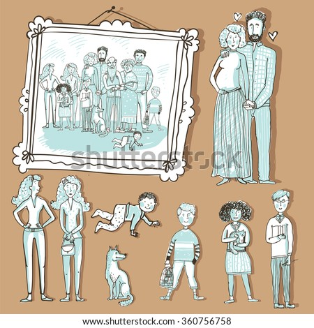vector set people a framed