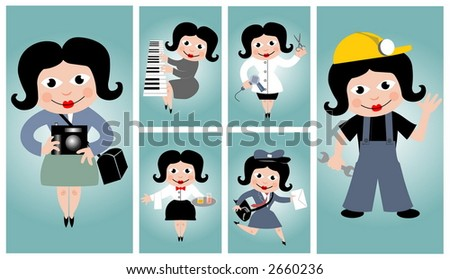 Vector set - people's occupations (women)