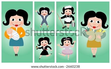 Vector set - people\'s occupations (women)