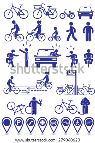 vector set pictograms bicycle