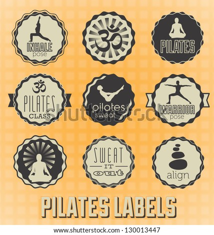 Vector Set: Pilates Labels and Vectors
