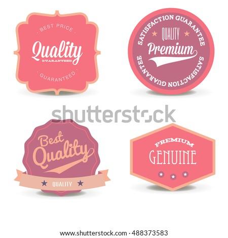 Vector set pink quality label offer. Circle retro premium sticker graphic design.