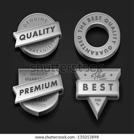 Vector set premium quality and guarantee labels three-dimensional design