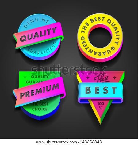 Vector set premium quality and guarantee multicolored labels three-dimensional design.