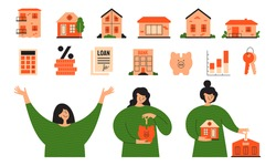 Vector set real estate icons. Stages of mortgage, calculating rate, home loan concept. Happy woman investing money, planning buy house. Cute girl putting coin into piggy bank. Illustrations collection