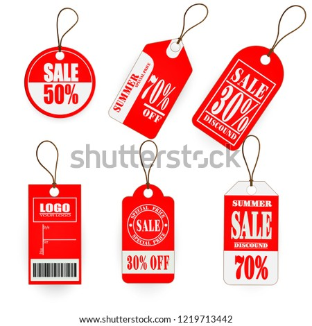Vector set  red tag price design #1219713442