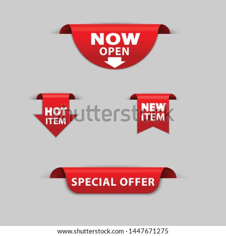 Vector set red tag ribbon and banner now open,hot item,new,item,srecial offer.