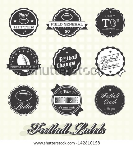 Vector Set: Retro Football Champion Labels