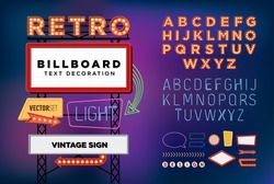 Vector set Retro neon sign, vintage billboard, bright signboard, light banner