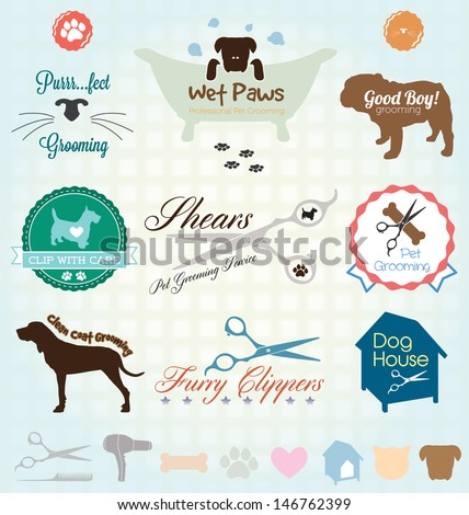 vector set  retro pet grooming