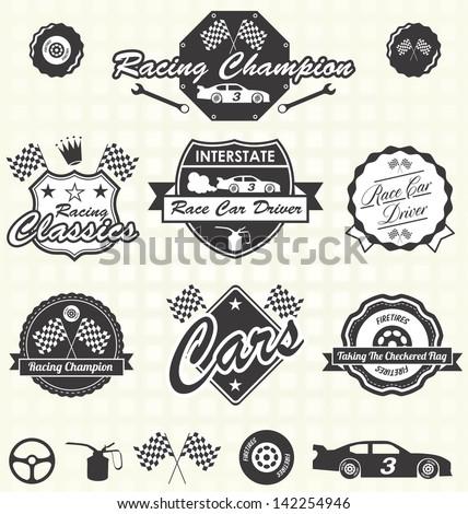 vector set  retro race car