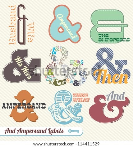 Vector Set: Retro Vintage Ampersand Labels and Stickers