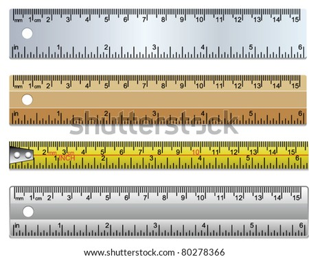vector set rulers and measuring tape in millimeters, centimetres and inches