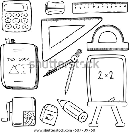 Math symbol hand drawn download free vector art stock graphics vector set school stationary equipment for mathematics learning hand drawn sketch of schoolbag stuff ccuart Gallery