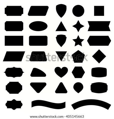 Vector set shapes and black label for message. Collection emblems, vintage rectangle  and geometry frame for text. Hexagon,  web button and sticker for decorative text