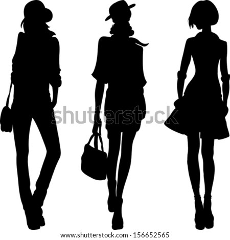 vector set 1 silhouette of