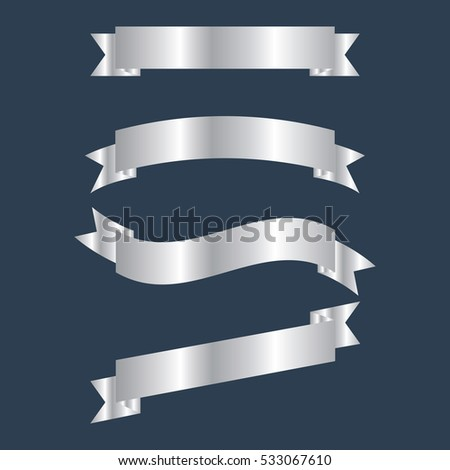vector set silver ribbon banners illustration for your text