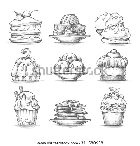 vector set sketch illustrations