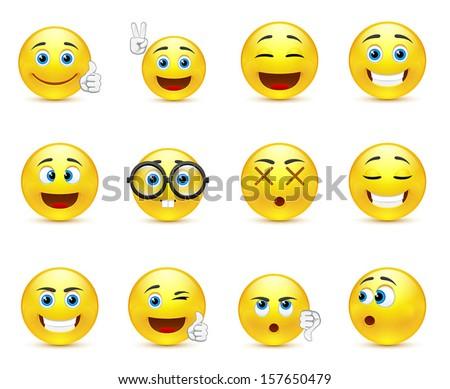 vector set   smiley faces