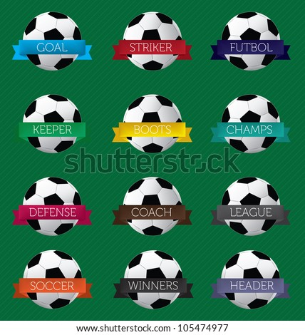 Vector Set: Soccer Labels and Stickers with Banners and Balls