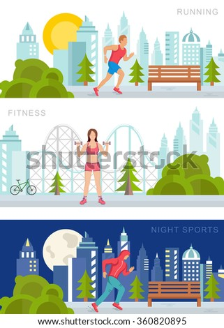 vector set sport and fitness